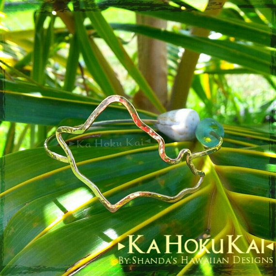 Oahu Island Shape Bangle Sterling Silver by shandahawaiiandesign