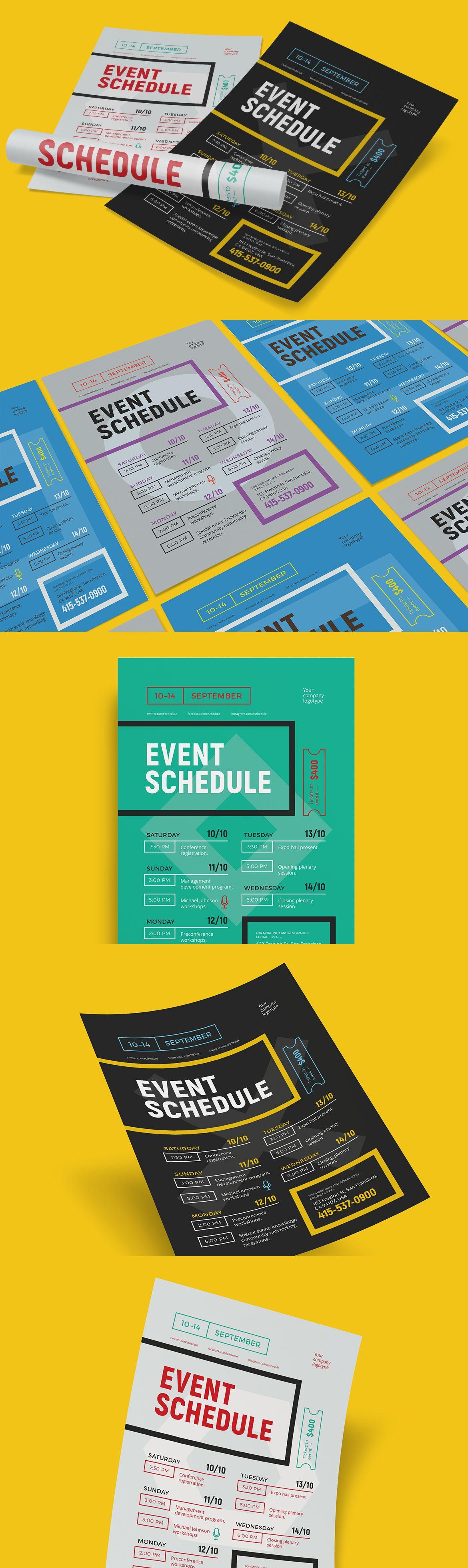 schedule event poster template ai eps flyer templates pinterest