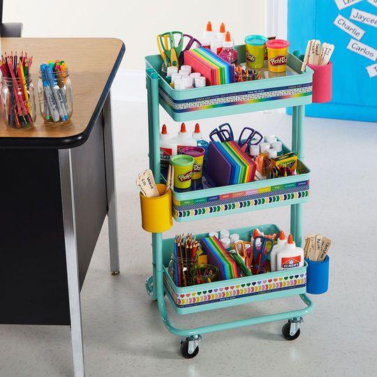 Classroom Supply 3 Tier Rolling Cart Classroom Organization