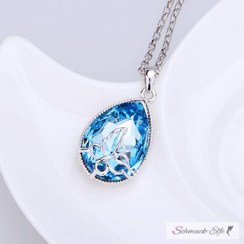 Anhänger Tropfen 3D Schmetterling Zirkonia meerblau türkis