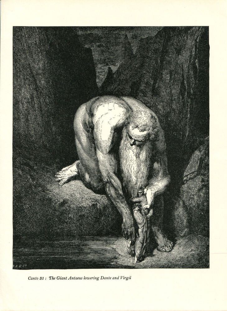 Gustave Dore Print /Bookplate 1948 Giant Antaeus Virgil Dante Divine Comedy #Realism