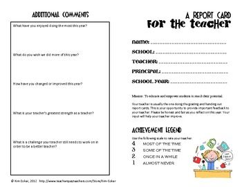 A Report Card For The Teacher  Feedback From Students  Teacher