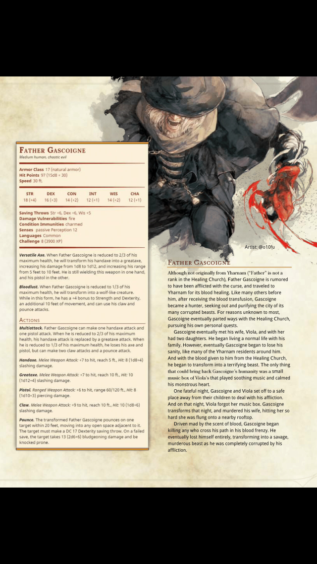 Father Gascoigne | D and D in 2019 | Dnd monsters, Dnd 5e homebrew
