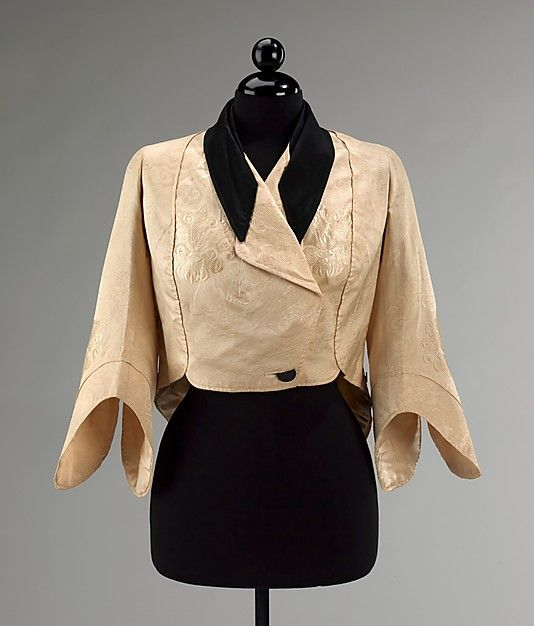 Jacket  Callot Soeurs (French, active 1895–1937)  Designer: Attributed to Madame Marie Gerber (French) Date: 1911–14 Culture: French Medium: silk Dimensions: Length at CB: 26 1/2 in. (67.3 cm) Credit Line: Brooklyn Museum Costume Collection at The Metropolitan Museum of Art, Gift of the Brooklyn Museum, 2009; Gift of Ogden Goelet, Peter Goelet, and Madison Clews, 1962 Accession Number: 2009.300.317