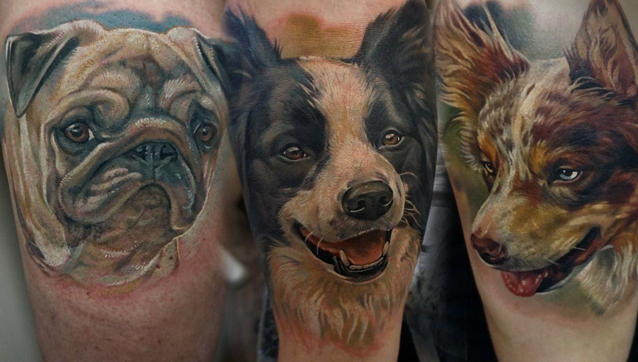 Cute Dogs Portrait Tattoos By Giena Revess Dog Portraits Tattoo Artists Dog Portrait Tattoo
