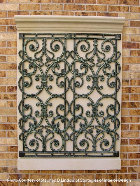 Faux Wrought Iron Wall Insert Windows