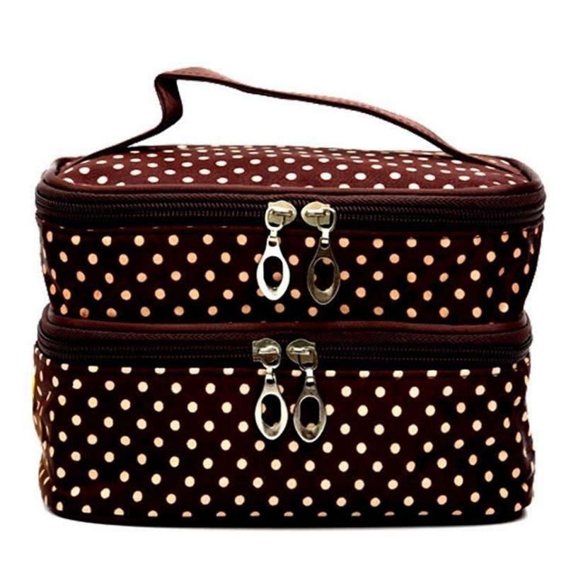 Double Layer Cosmetic Bag Functional Travel Zipper Makeup