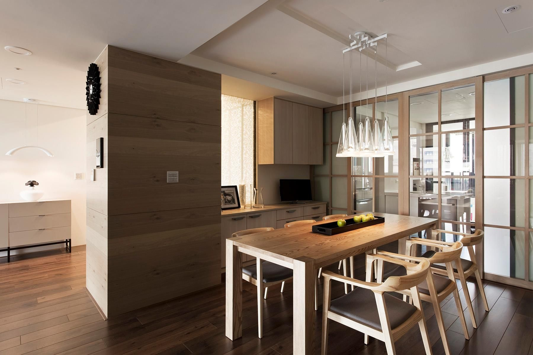 Marvelous contemporary dining room with classic kitchen plus great wooden furniture table for 6 chair