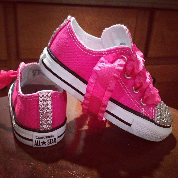 Neon Pink Bling Converse with Neon Pink Laces  edd032104