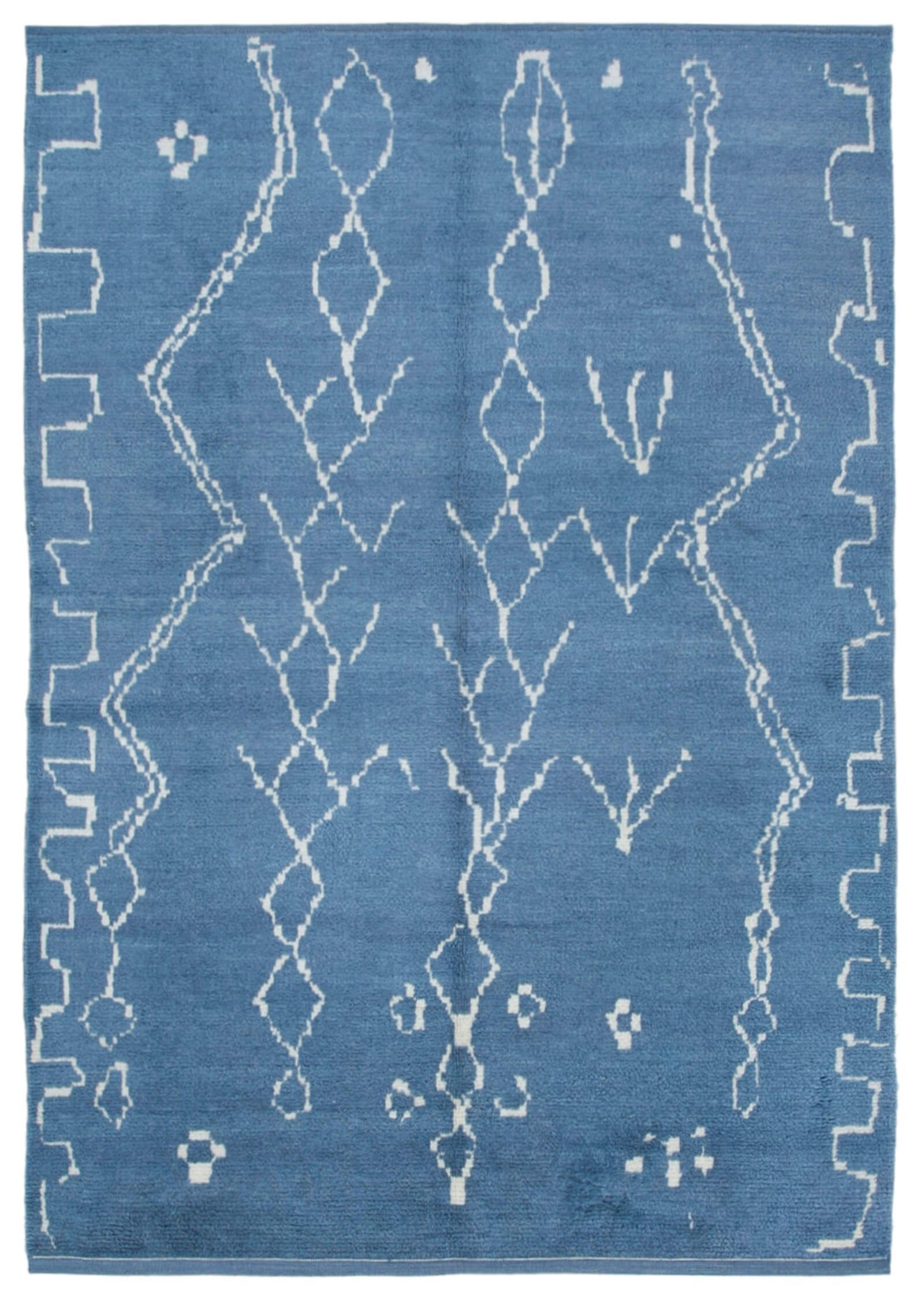 7x10 Blue Morocco Rug 10877 Wool Area Rugs Dark Blue Rug Minimalist Rugs