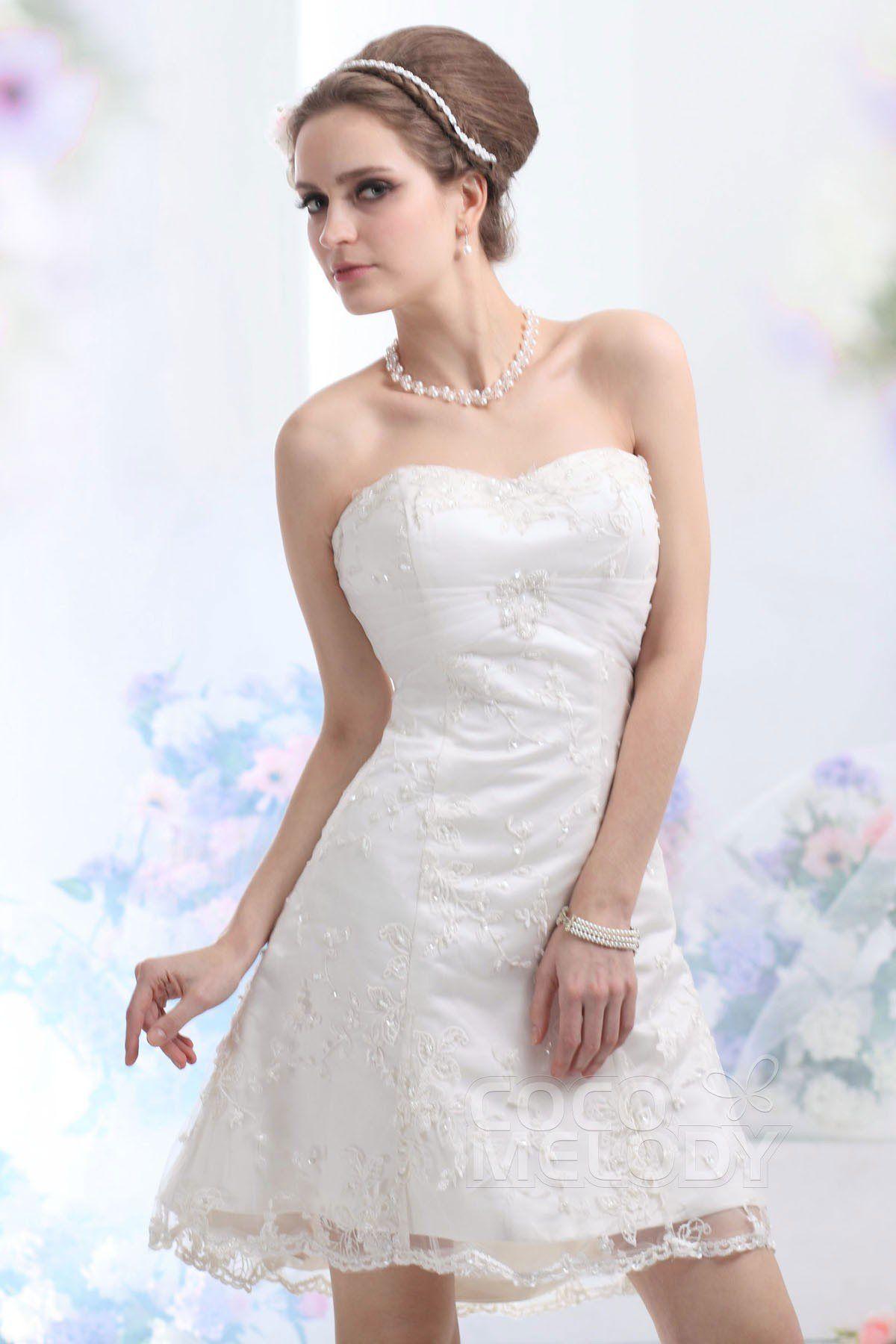 Mini white wedding dress  Lovely Aline Sweetheart ShortMini Lace Wedding Dress CWZK