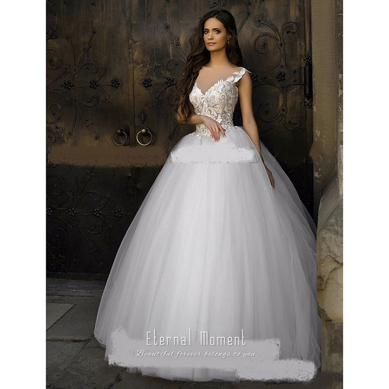 snow white wedding dress 2017 ball gown appliques lace bridal bride dress robe de mariage vestidos