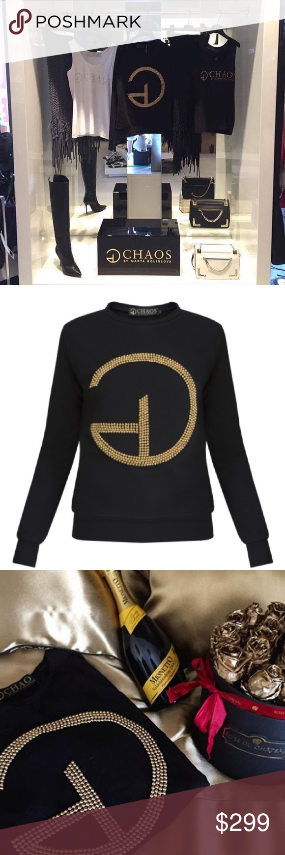 Handmade beautiful black sweater with gold perls NWT | Balmain ...