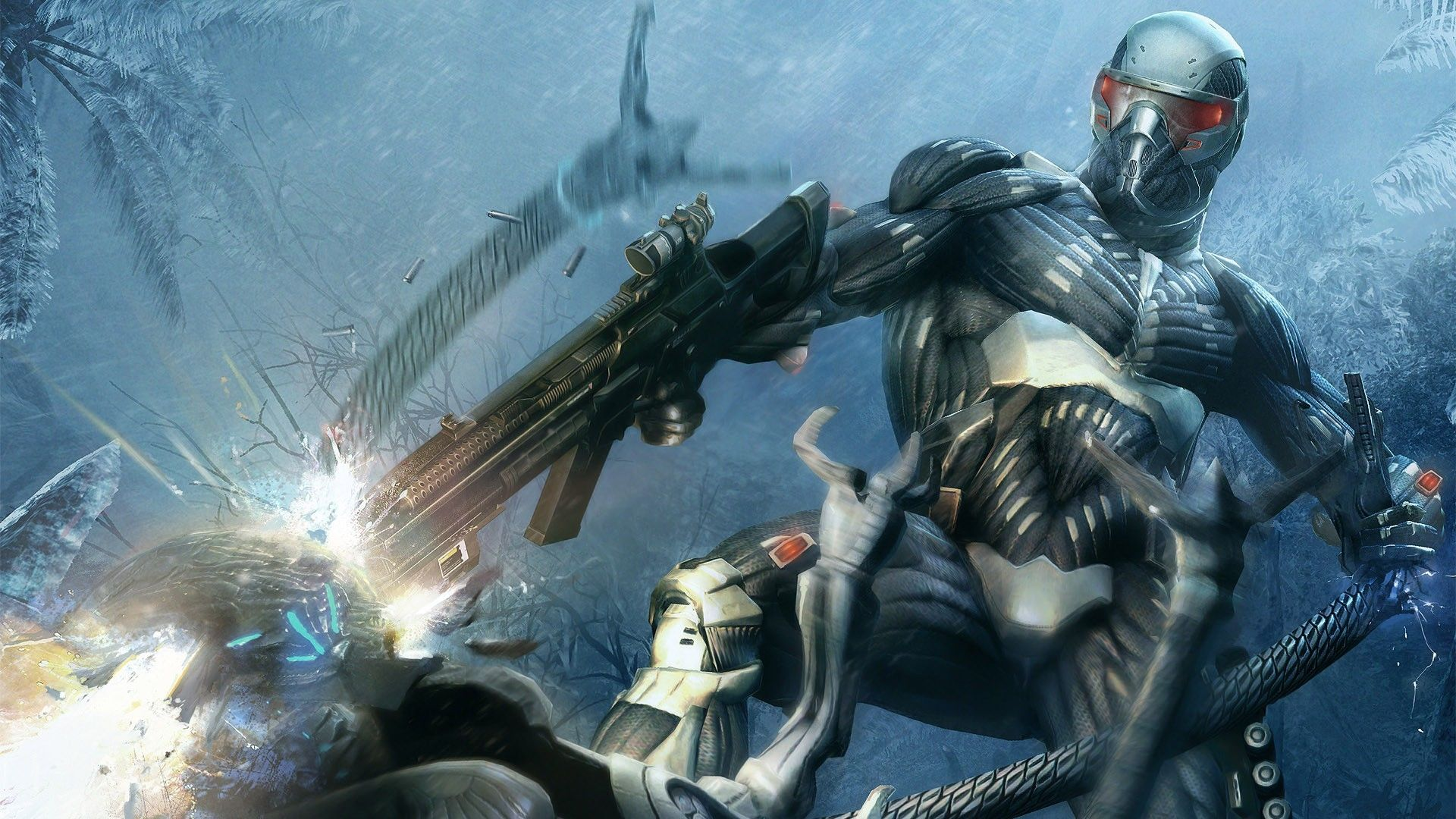 download crysis costume prophet gun monster fire alcatraz wallpaper