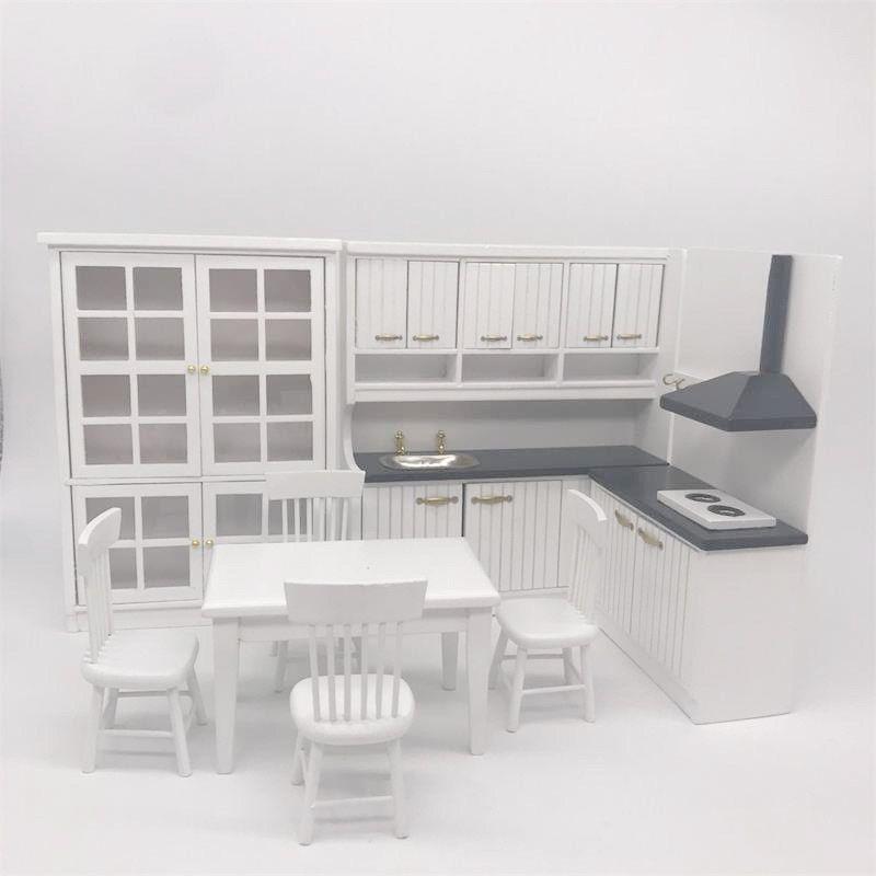 1:12 Dolls House Miniatures Kitchen Furniture Set Fridge Table Chairs Toy