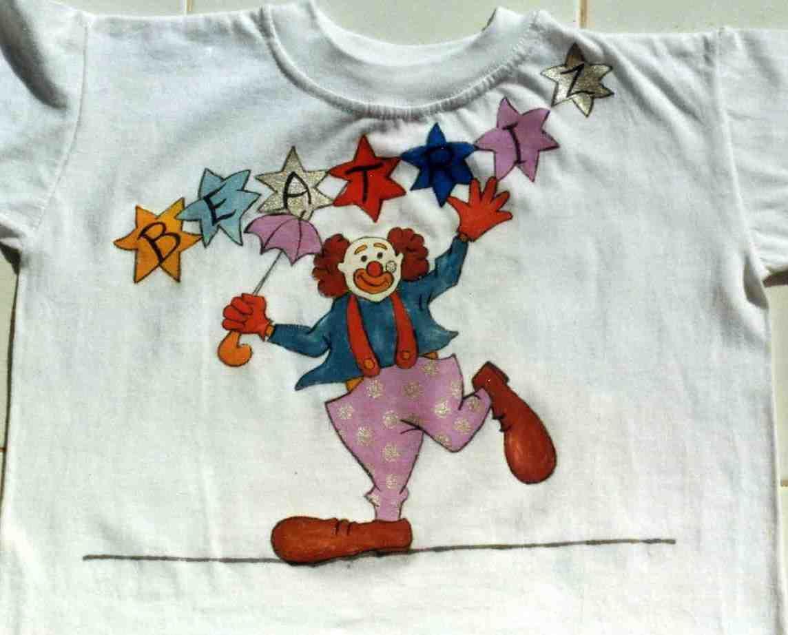 PAYASO FUNAMBULISTA-BEATRIZ. Acrílico sobre camiseta de algodón. 1999
