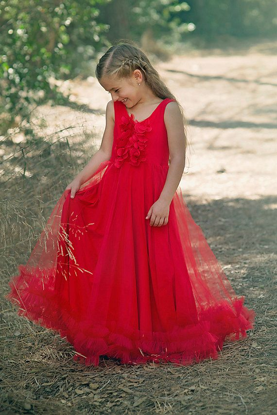 girls christmas dress baby girl long red gown holiday christmas red tulle dress party tutu toddler formals christmas party dress - Long Christmas Dresses