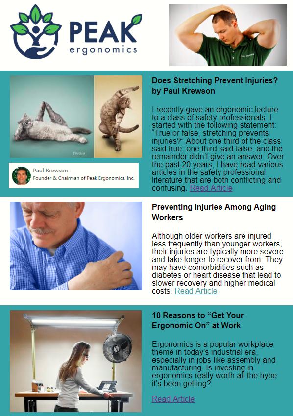 Peak Ergo January 2019 Newsletter Does Stretching