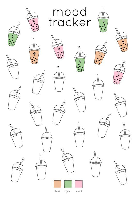 Bubble Tea Mood Tracker Printable for Journal