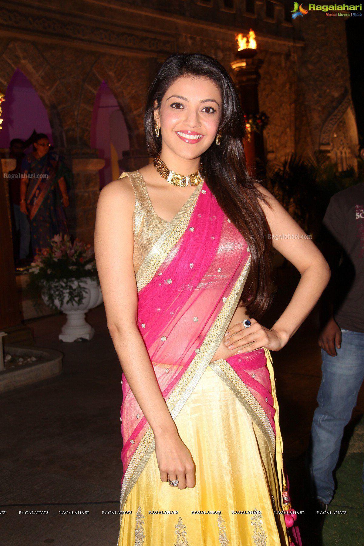 Pin by Abin Alex on Kajal Aggarwal Pink half sarees