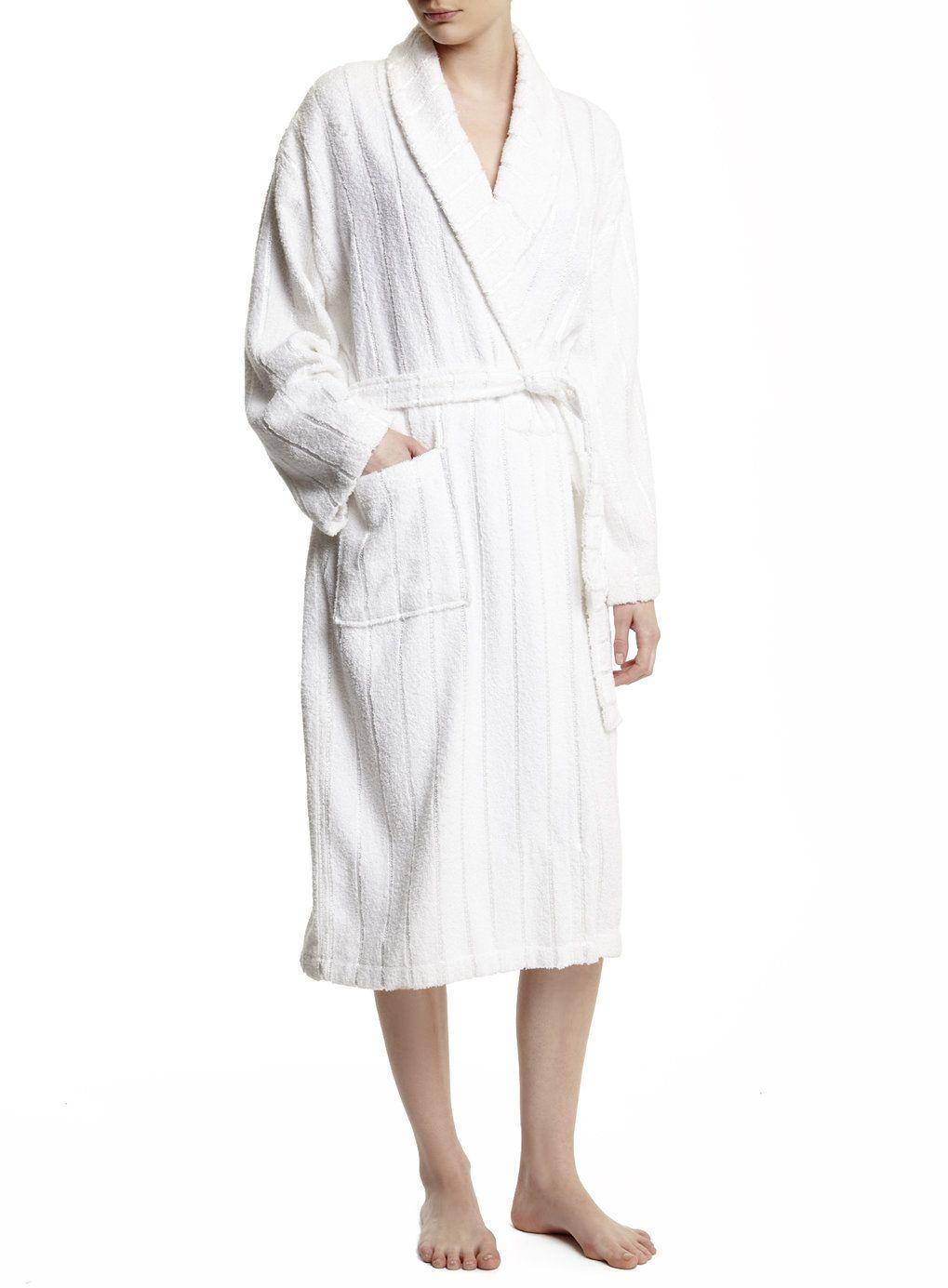 White Ladies Towelling Dressing Gown Towels Bath Dish Beach Etc