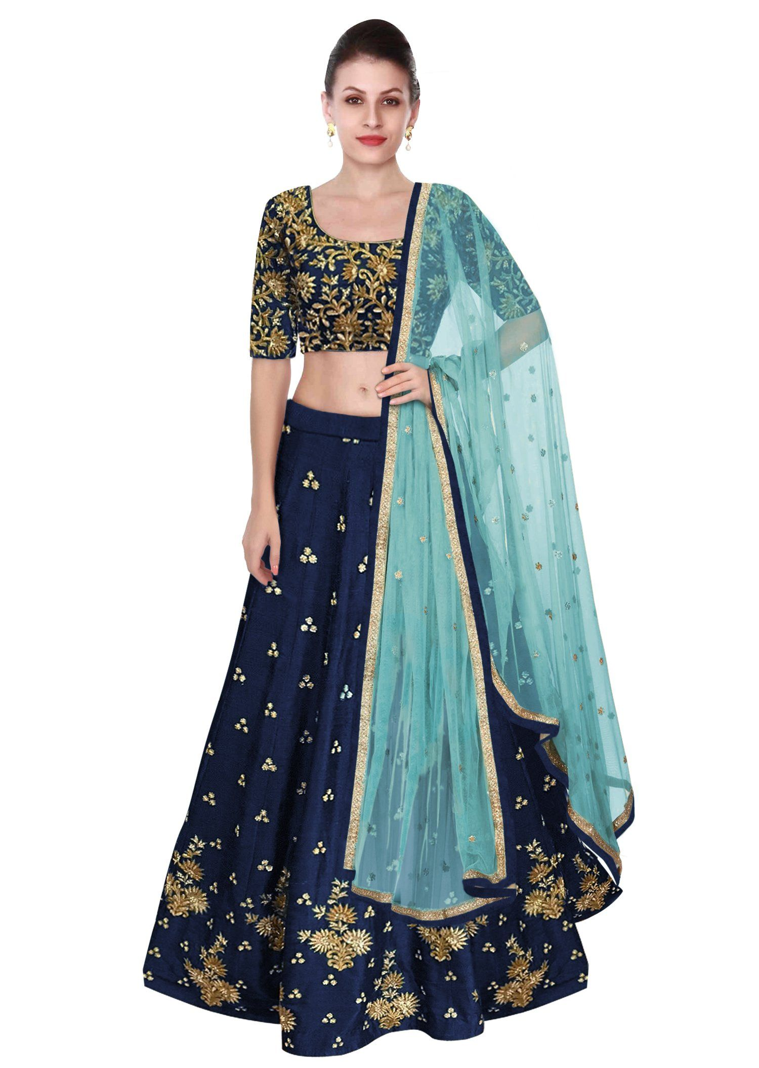 0439b4aa69 Look beautiful in the navi blue #LehengaCholi featured in raw silk with  Zari & gotta embroidery.