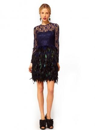 Blue Formal Dress Bqueen Feather Dress With Lace Bqueen Dress