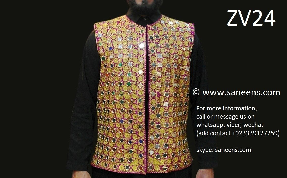 Mirrors work afghan vest in pink golden color pashtun men waistcoat