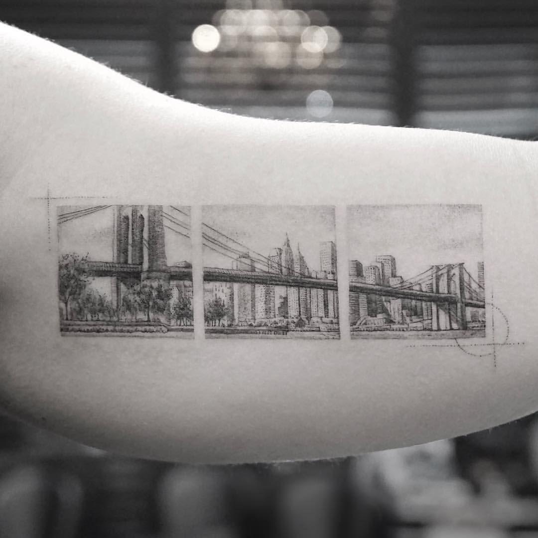 Brooklyn bridge tattoo ig photo by mrk_tats nyc