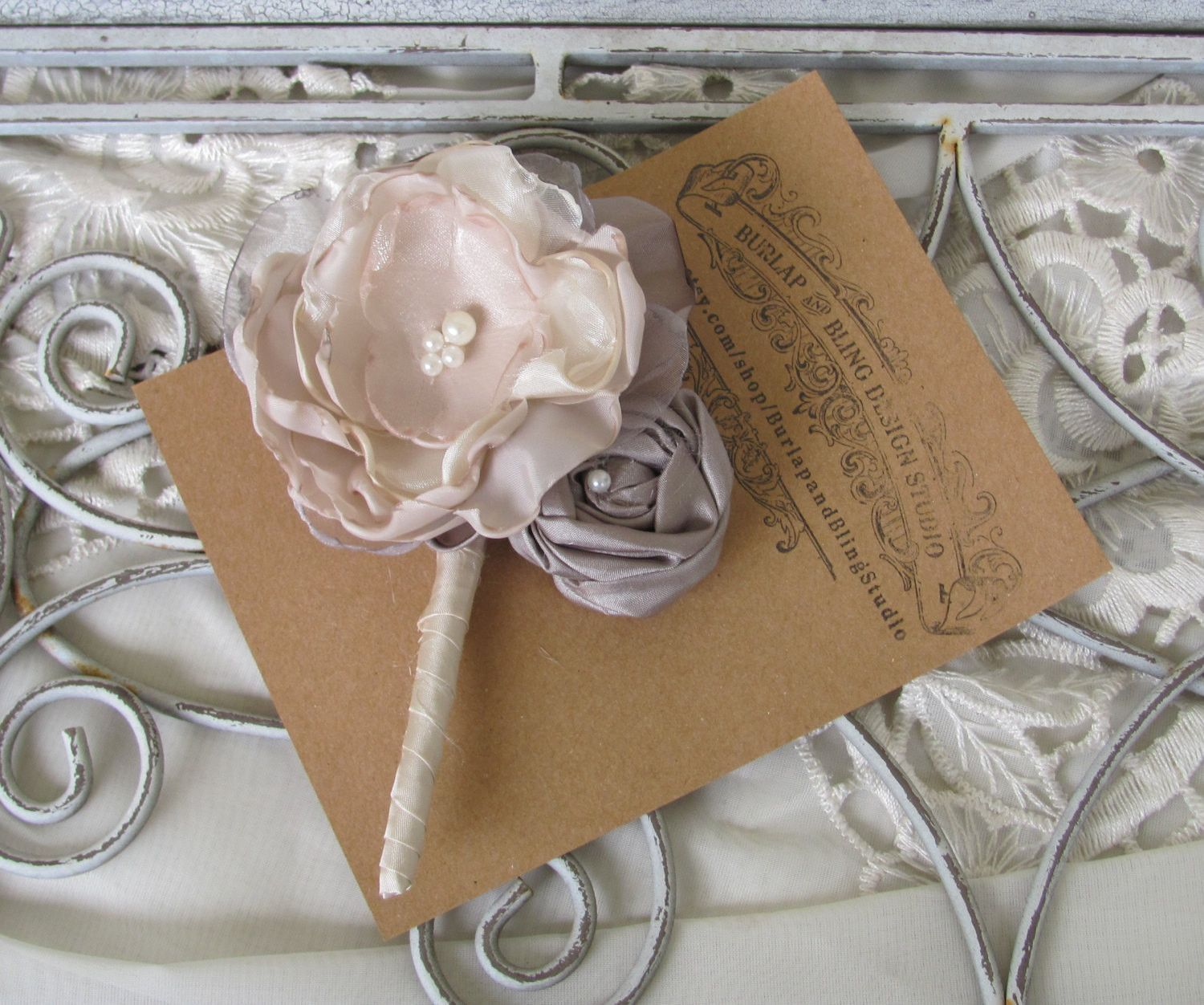 Fabric Boutonniere Custom Made By Burlap And Bling Design