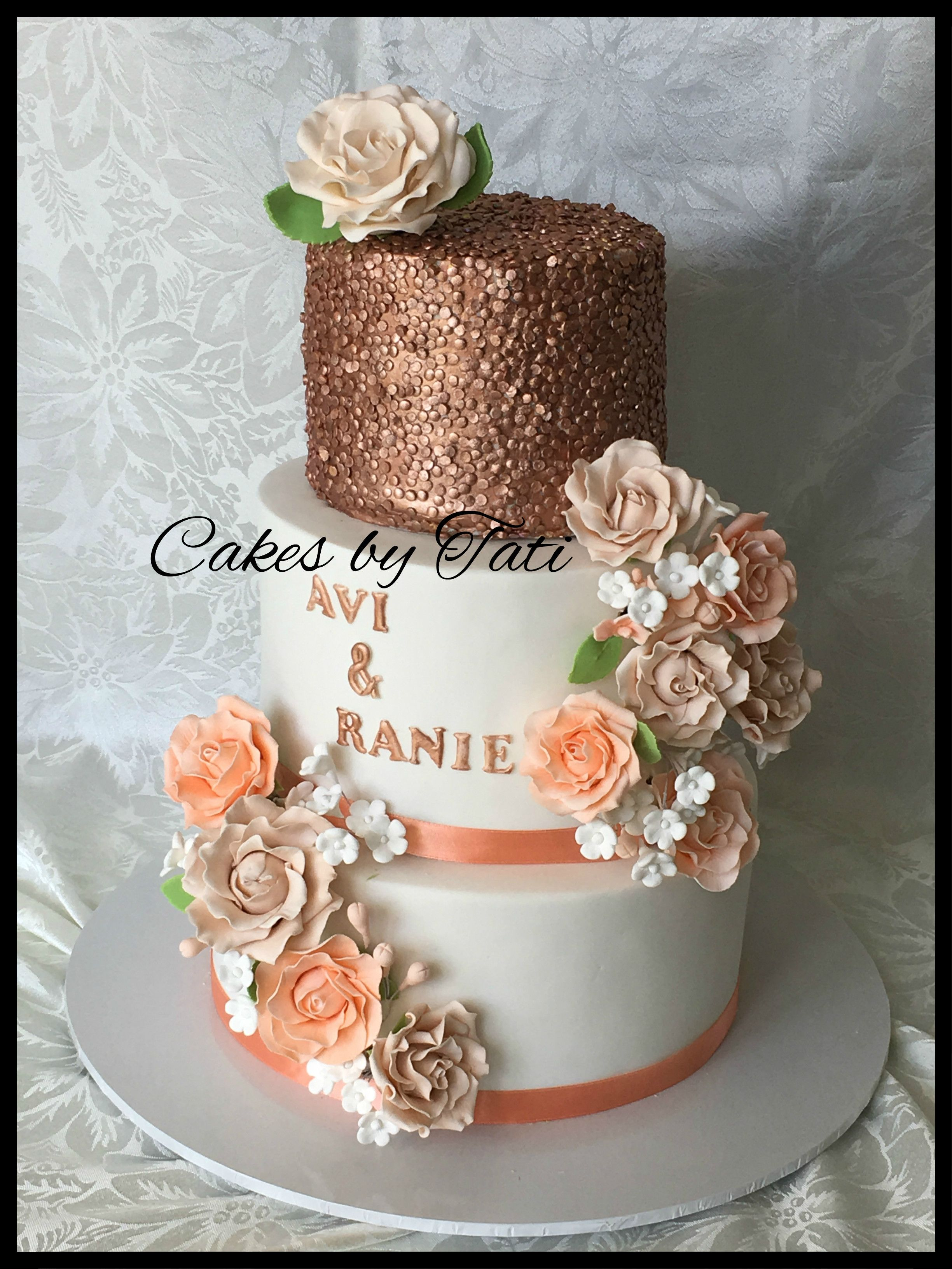 rose gold wedding cake with flowers 3 tier engagement cake with edible gold sequins and 19299