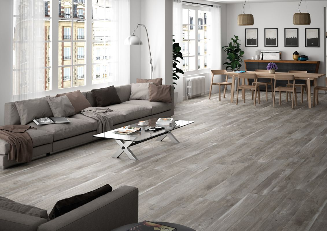 kyron grey wood look tile 1700x200 | modern living spaces