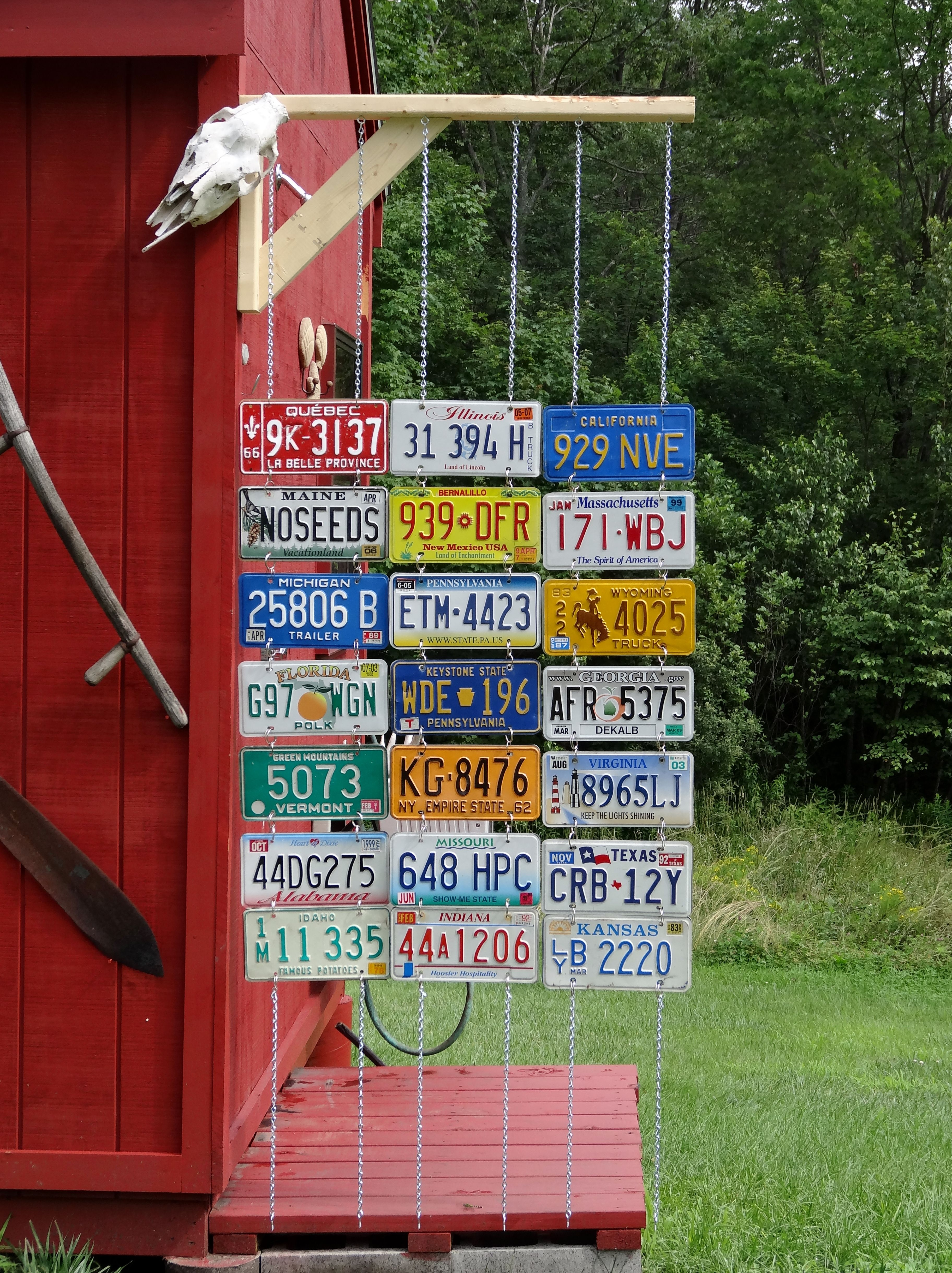Outdoor Shower Curtain Made With Back To Old License Plates