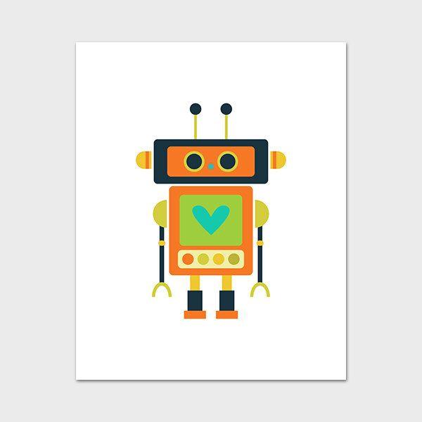 Robot Printable, 8x10, Instant Download Robot Art Print Robot Wall ...