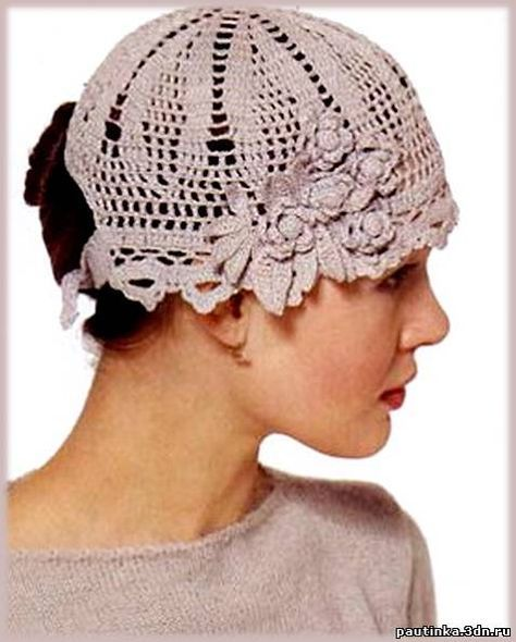 вязаная бежевая летняя шапочка крючком схема вязания шапок