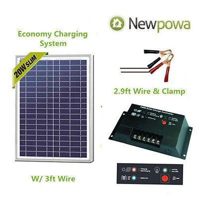 Newpowa 20w Watt 12v Solar Panel Pwm 10a Charge Controller Battery Charger Kit 12v Solar Panel Solar Panels Solar Energy Panels