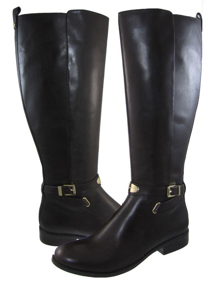 55ef4be2ec7d Michael Kors Womens Arley Riding Zipper Pull On Wide Calf Buckle Knee High  Boots