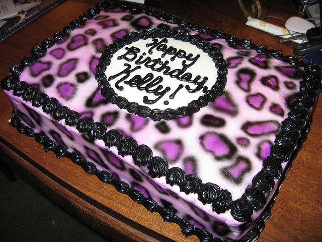 Purple Leopard Print Birthday Cake Red Velvet Airbrushed