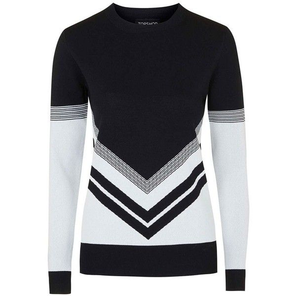 Topshop Chevron Colorblock Sweater ($80) ❤ liked on Polyvore featuring  tops, sweaters,