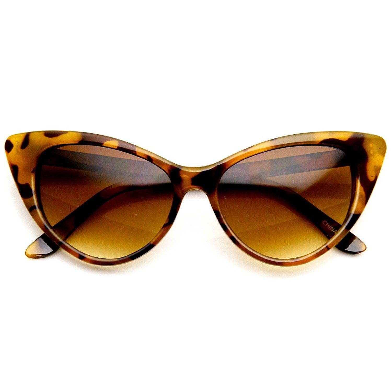 fdc8c37b0b Super Cateyes Vintage Inspired Fashion Mod Chic High Pointed Cat-Eye  Sunglasses (Havana) - CM11M5JD58Z - Women s Sunglasses