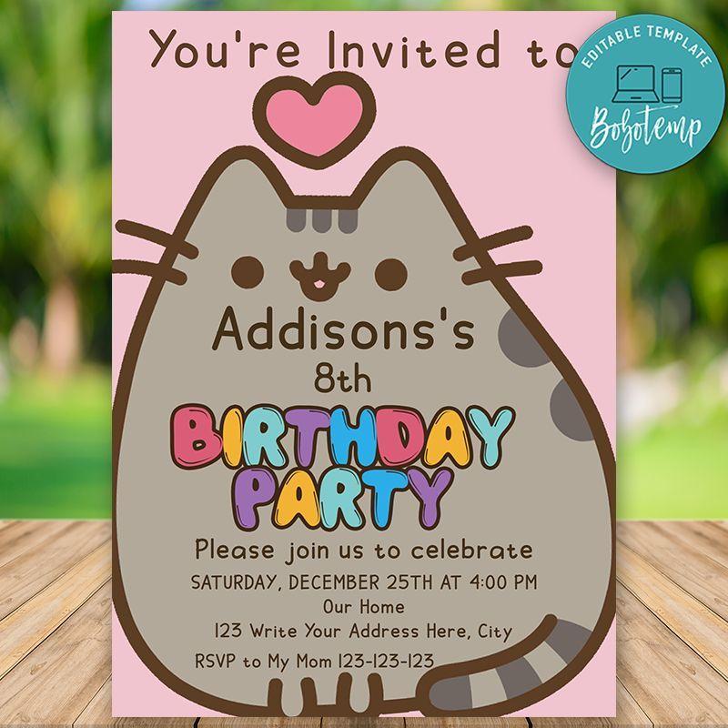 Editable Pusheen Cat Birthday Invitation Instant Download In 2020 Cat Birthday Invitations Pusheen Birthday Cat Birthday Party
