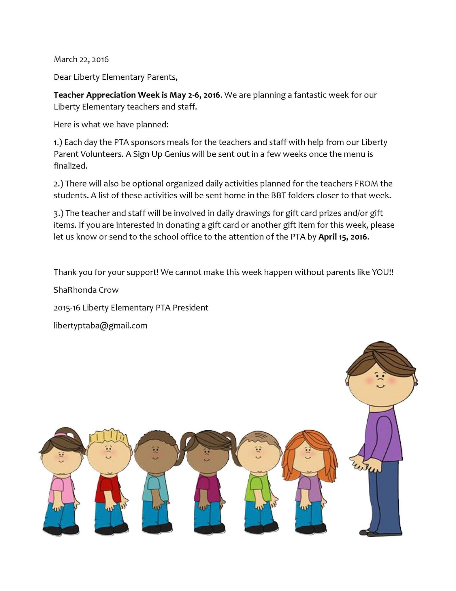 Letter to school asking for gift card donations for TAW