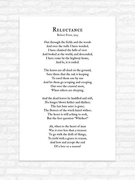 Robert Frost Poem Print Wall Art, Reluctance, living room ...