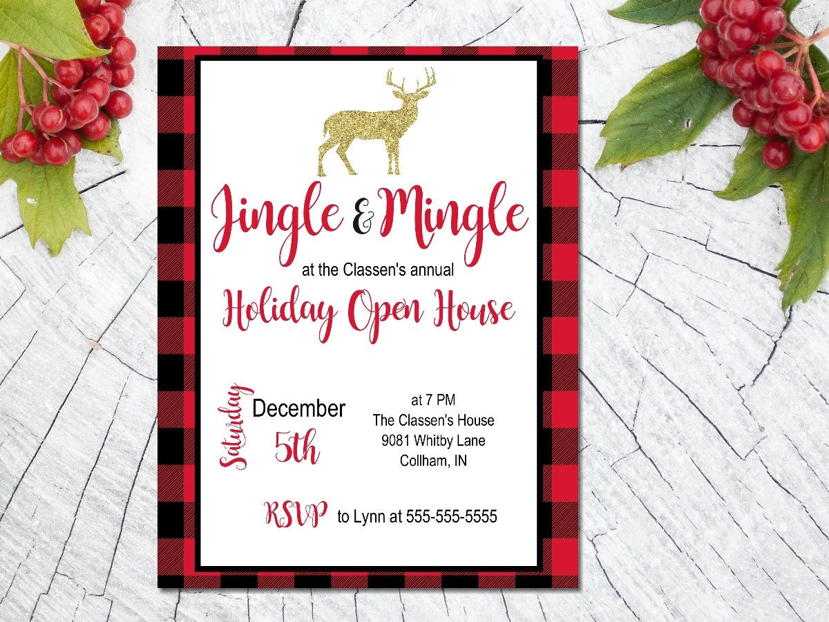 Printable Christmas Party invitation / plaid Christmas invite ...