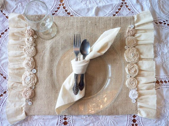 beautifully made, burlap place mats with frayed edge muslin ruffles and muslin rosettes & vintage buttons