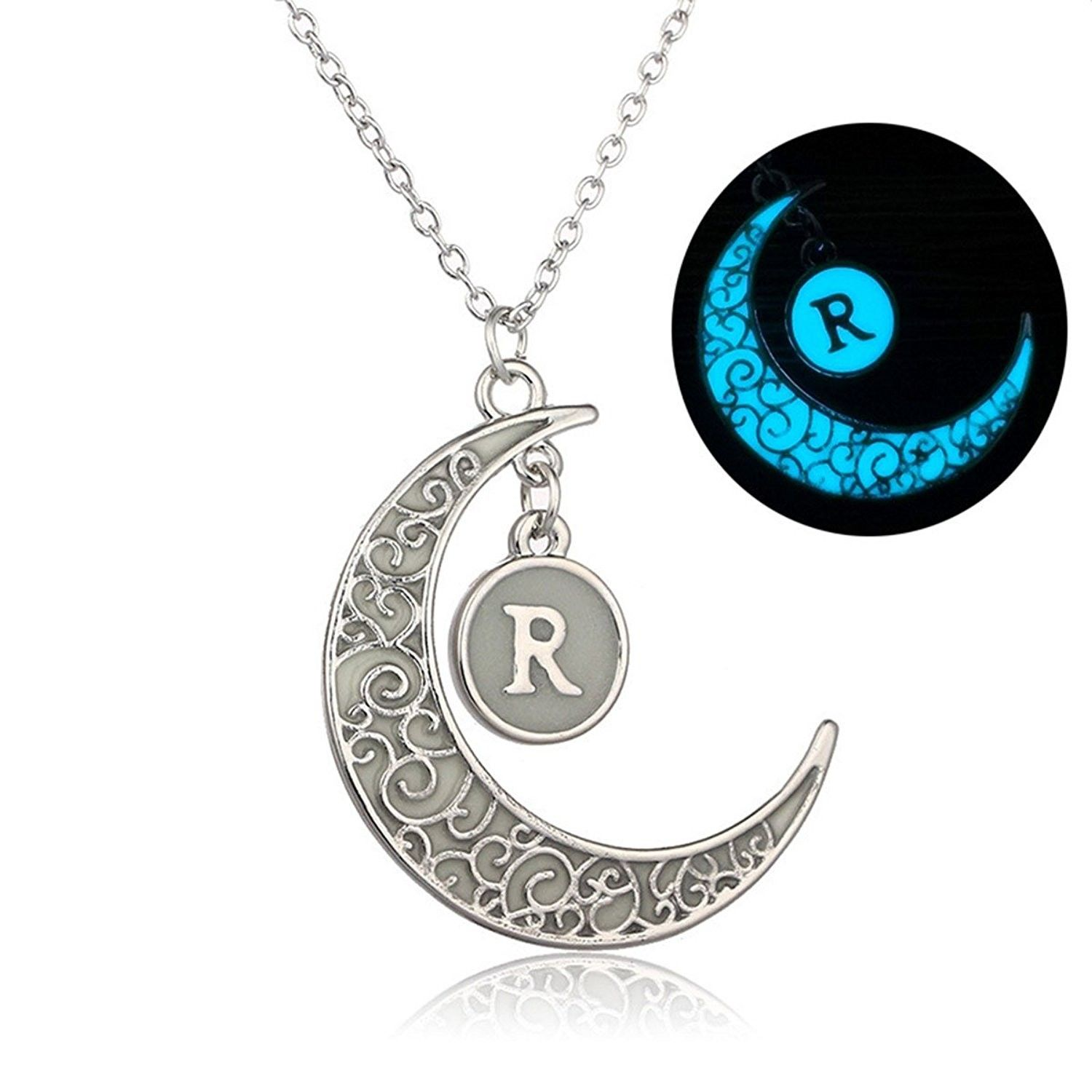 Initial necklace glow in dark hollow out carved moon r letter