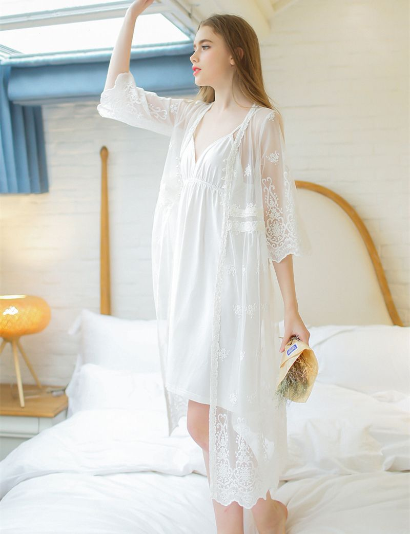Lace robe set lady white lace embroidery dressing gown two-piece ...