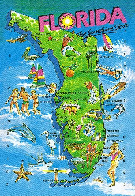 Cocoa Beach Florida Map.Large Florida Map Postcard Special Trade Maps Florida