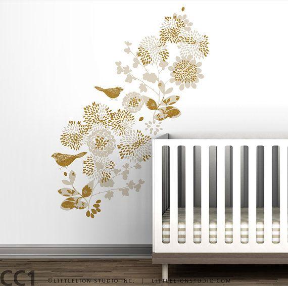 kids wall decal bird flowers gold white mural wall art for babies