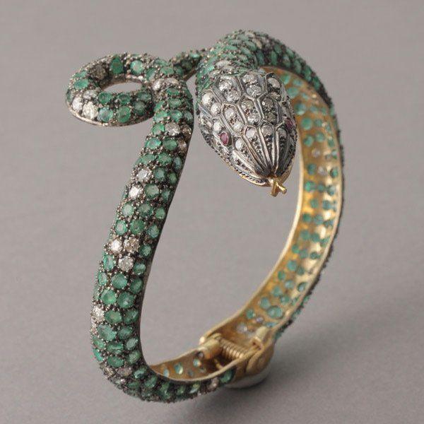 Emerald Diamond Ruby Silver Gilt Snake Bracelet